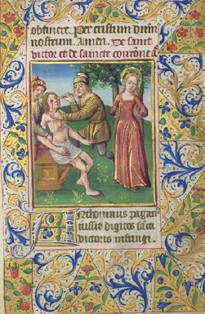 Martirio de los Santos. Iluminación de un Libro de Horas conservado en París (Francia), ca. 1480.