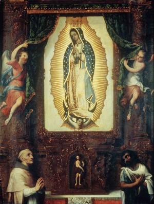 Nuestra Señora de Guadalupe con fray Juan de Zumarraga, San Juan Bautista y San Juan Diego, óleo de Miguel Cabrera.