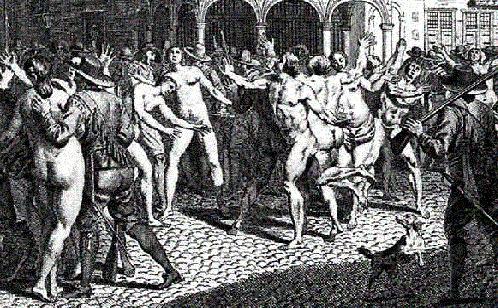 Grabado barroco de un grupo de adamitas siendo rodeados por hombres armados.