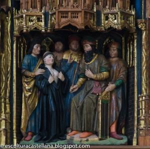 Eugenia muestra los pechos ante el tribunal de su padre para probar que es una mujer. Detalle del retablo de la Santa en Astudillo, Palencia (España). Fuente: www.esculturacastellana@blogspot.com.