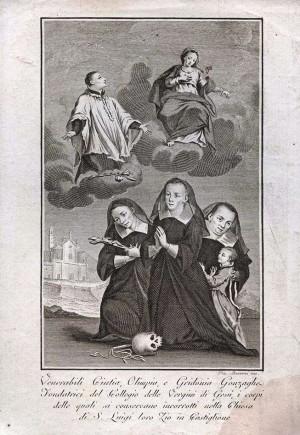Grabado de las Venerables junto a su tío San Luis Gonzaga.