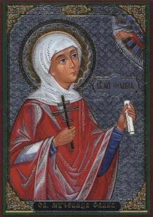 Icono ortodoxo ruso de Santa Faina, virgen y mártir de Ancira.