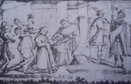 La reina Ketevan, rehén de los persas. Cerámica devocional en Lisboa, Portugal.