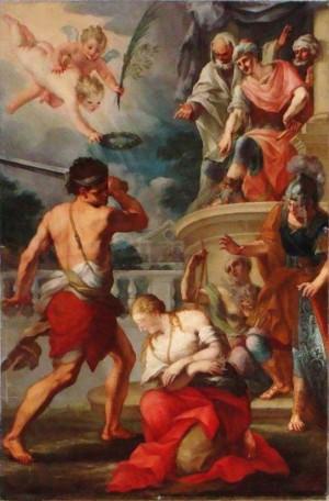 Martirio de la Santa. Lienzo en la catedral de Palermo, Italia.