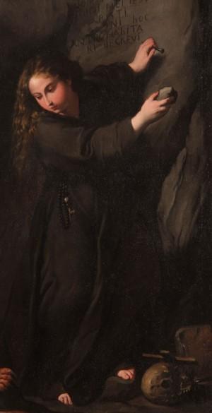 """Detalle de la Santa grabando en la pared de la gruta su inscripción identificatoria. Lienzo de Pietro Novelli """"Il Monrealese""""."""