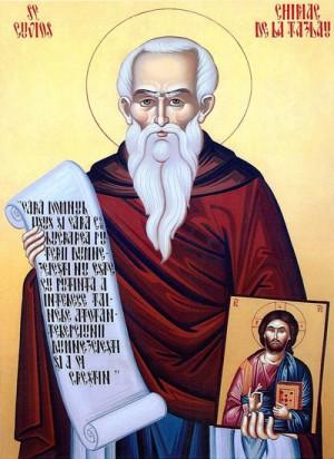 Icono ortodoxo rumano de San Ciríaco (Chiriac) de Tazlău.