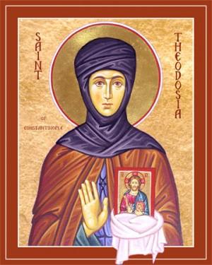Icono ortodoxo americano de la Santa, portando el icono del Salvador cuyo rescate fue causa de su martirio. Monasterio de la Santa Dormición de Cumberland, California (EEUU).
