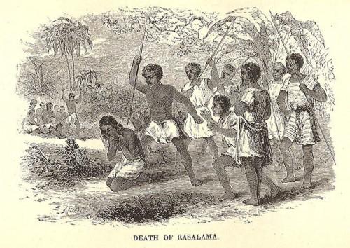 Grabado de Rasalama siendo ejecutada a lanzazos durante la persecución de Ranavalona I.