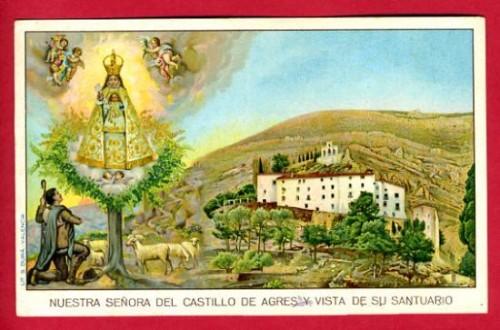 Estampa de la aparición -la imagen se muestra vestida, con los añadidos de época barroca- y panorámica del Santuario.