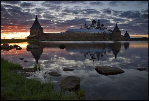 Vista del monasterio Solovskij, Rusia.
