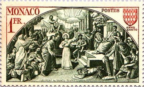 La Santa ante el tribunal de Bárbaro, echándole en cara el asesinato de su amo. Sello del Principado de Mónaco.