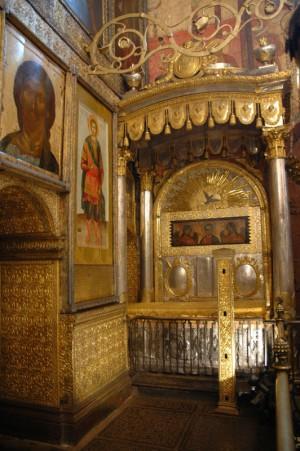 Urna del Santo en Moscú.