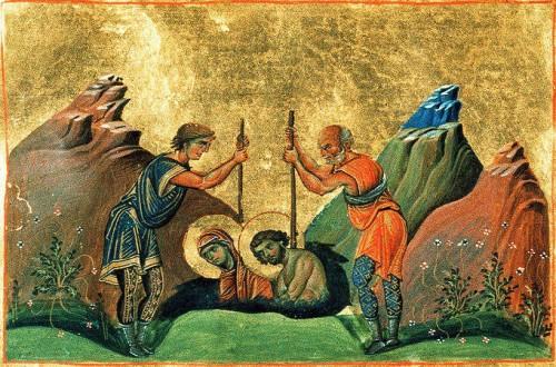 Los esposos son sepultados vivos. Iluminación del Menologio de Basilio II, s.X. Biblioteca Apostolica Vaticana, Roma (Italia).