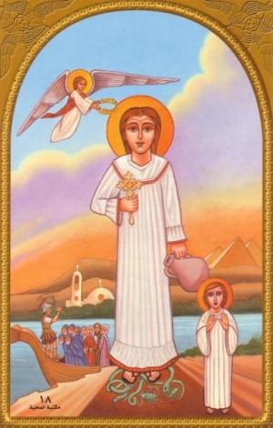 Icono copto de la Santa, con la síntesis de su biografía.