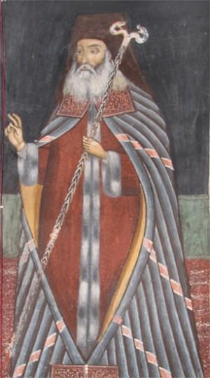 Fresco del Santo en la catedral de Râmnic, Rumanía.