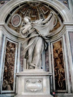 Escultura barroca de la Santa, obra de Francesco Mochi (1629). Basílica de San Pedro del Vaticano, Roma (Italia).