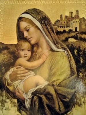 Imagen de la Virgen del Castillo venerada en la Basílica de Santa Catalina de Siena, Italia.