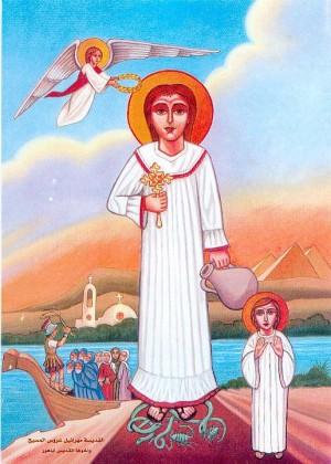 Vista del mismo icono, con detalle del barco lleno de cristianos perseguidos.