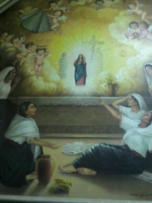 Mural que representa la renovación milagrosa de la imagen.