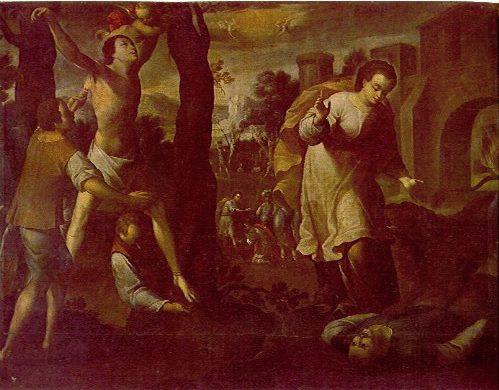 Crisanto torturado con antorchas, Daría salvada de un agresor por el león. Lienzo de Gregorio Vásquez de Arce. Bogotá, Colombia.