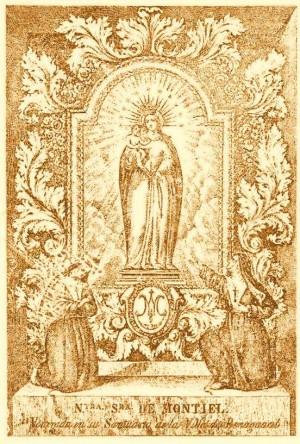 Grabado de la Virgen de Montiel, patrona de Benaguasil, Valencia (España).