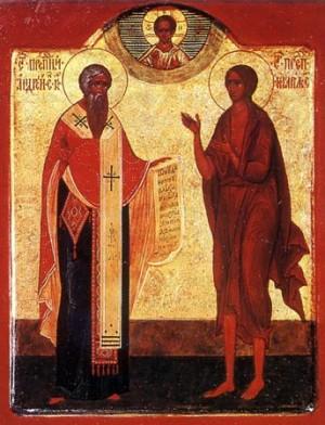 Icono ortodoxo ruso de los Santos Andrés de Creta y María Egipcíaca.