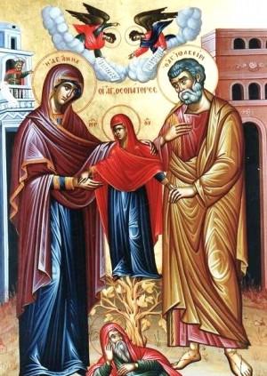 Icono ortodoxo griego donde aparece María como vara que sale del árbol de Jesé.