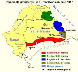 Mapa de la frontera militar de Transilvania (Rumanía), escenario de la rebelión.