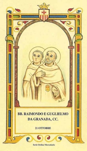 """Estampas de los Beatos Ramón y Guillermo de Granada, mercedarios. Serie del ilustrador Alberto Boccali """"Bertino""""."""