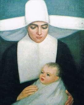 Estampa contemporánea de sor Josefa, portando en brazos uno de los niños de la Inclusa, donde cuidaba de los huérfanos.