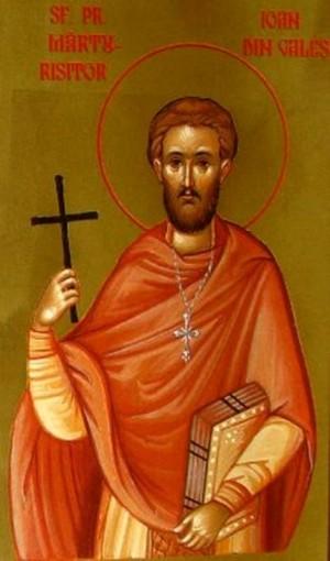Detalle de San Juan de Gales en un icono ortodoxo rumano.