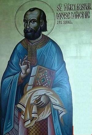 Detalle de San Moisés Macinic en un icono ortodoxo rumano.