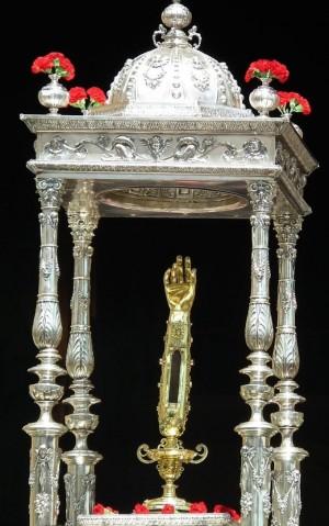 Brazo-relicario de San Torcuato venerado en la catedral de Guadix (España).