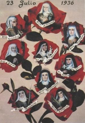 """Collage con los retratos de las mártires, representadas como """"nueve rosas de sangre""""."""