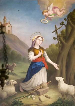 Lienzo de la Beata con los atributos de pastora, de virgen y de mártir. Obra de Rossi.