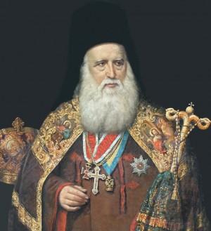 Retrato del Santo en su atuendo y báculo de metropolita.