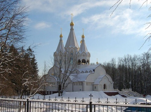 Vista de la catedral ortodoxa de Butovo (Rusia).