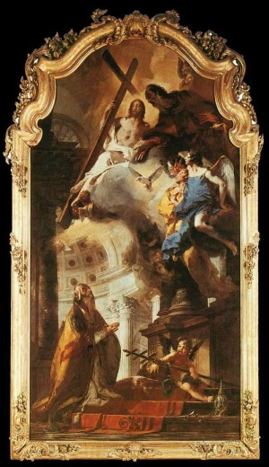San Clemente adora a la Santísima Trinidad. Lienzo de Giovanni Battista Tiepolo.