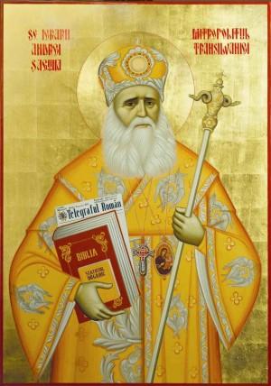 Icono ortodoxo rumano del Santo, en su atuendo de metropolita.