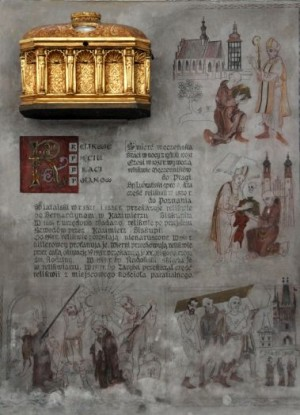 Urna-relicario y frescos narrando la vida y martirio de los Santos en Kazimierz (Polonia).