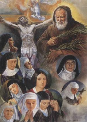 Estandarte de la beatificación de las mártires Mínimas de Barcelona.