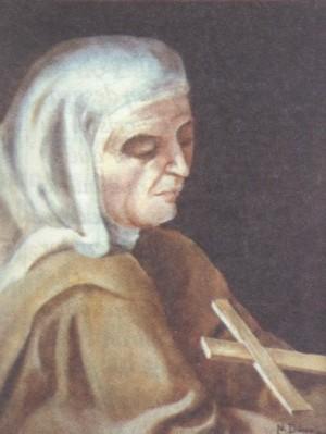 Beata Trinidad (Teresa Rius Casas). Pintura de sor Natividad Dávoli basándose en la fotografía de la mártir.
