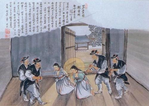 Martirio de las Santas, estranguladas con cuerdas. Ilustración perteneciente a la serie de los mártires coreanos.