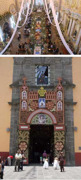 Festejos en la Parroquia de San Andrés Cholula tras la Bajada de la Virgen.