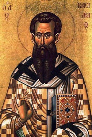 Icono ortodoxo griego San Basilio el Grande.