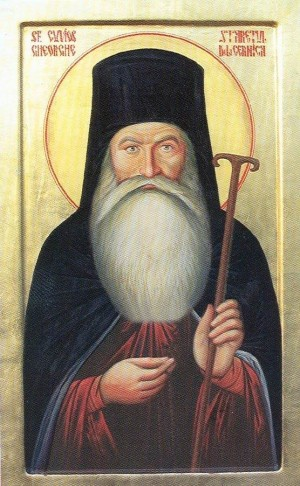 Icono ortodoxo rumano del Santo, en su atuendo de abad.