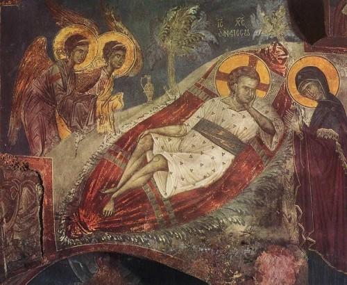 La Virgen en adoración ante el Niño Jesús. Fresco ortodoxo griego.