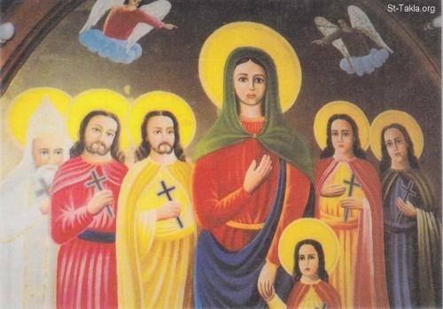 Mural copto de los Santos en una iglesia de Egipto.