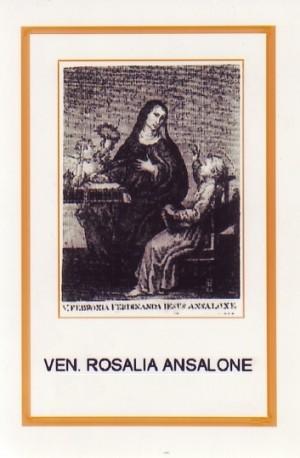 Estampa devocional de la Venerable Rosalía Ansalone.
