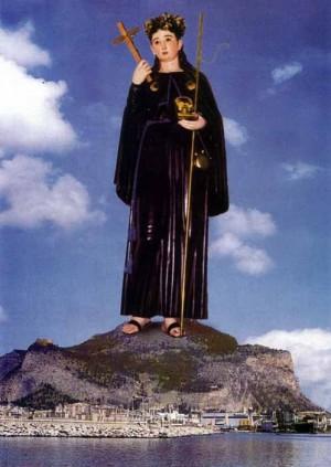 Imagen de Santa Rosalía Sinibaldi venerada por la Confraternidad homónina en la iglesia de San Giacomo dei Militari, Palermo (Italia).